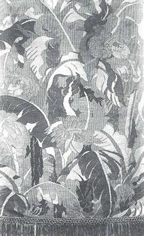 綴錦織「芭蕉の図」壁掛 虚籟作 第1回日本美術工芸展出品 入選