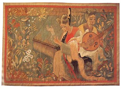 綴錦織「天平の春」壁掛 虚籟作